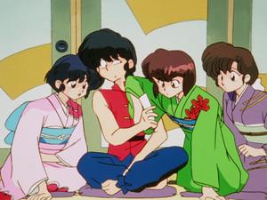 Ranma, Akane, Nabiki, and Kasumi (Ranma 1/2 anime) らんま?