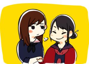 Salt (Shimazaki Haruka) and Otabe (Yokoyama Yui)
