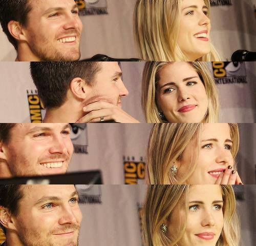 Stephen Amell & Emily Bett Rickards वॉलपेपर with a portrait titled Stephen and Emily