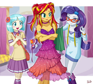 Sunset Shimmer in a pretty dress