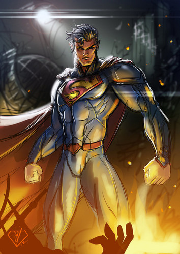Superman kertas dinding containing Anime entitled Superman - peminat Art