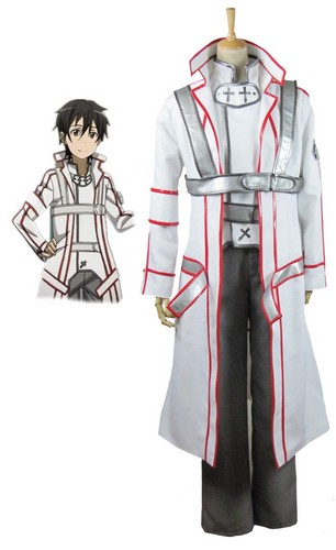 Sword Art Online wallpaper probably containing a surcoat entitled Sword Art Online SAO Kirito Knights of the Blood White Cosplay Costume