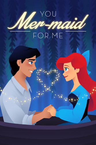 Ariel and Eric پیپر وال titled The Little Mermaid Valentine's دن Card