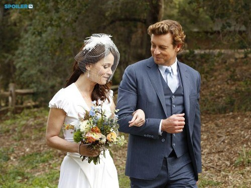 The Mentalist wallpaper with a business suit and a bridesmaid called The Mentalist - Episode 7.13 - White Orchids (Series Finale) - First Look Wedding Photos
