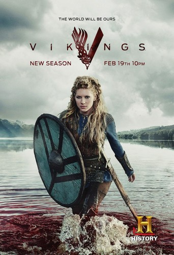 Vikings (TV Series) karatasi la kupamba ukuta probably with a raft, a racing boat, and an kasia, kafi titled Vikings Season 3 Lagertha Promotional Poster