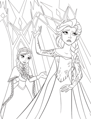 Walt Disney Coloring Pages - Princess Anna & Queen Elsa