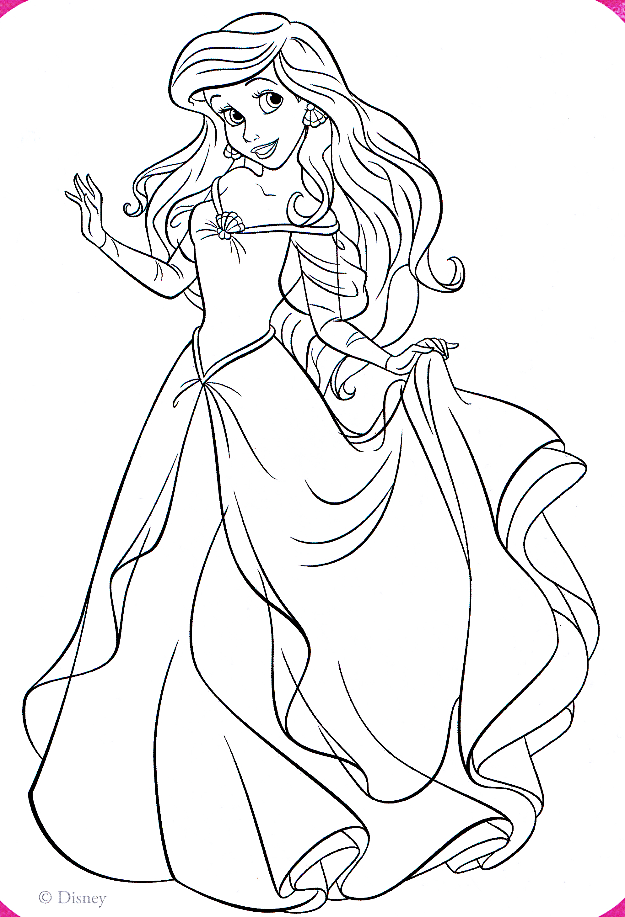 Walt Disney Coloring Pages Princess Ariel Walt Disney Disney Princess Coloring Pages Ariel In A Dress Free Coloring Sheets