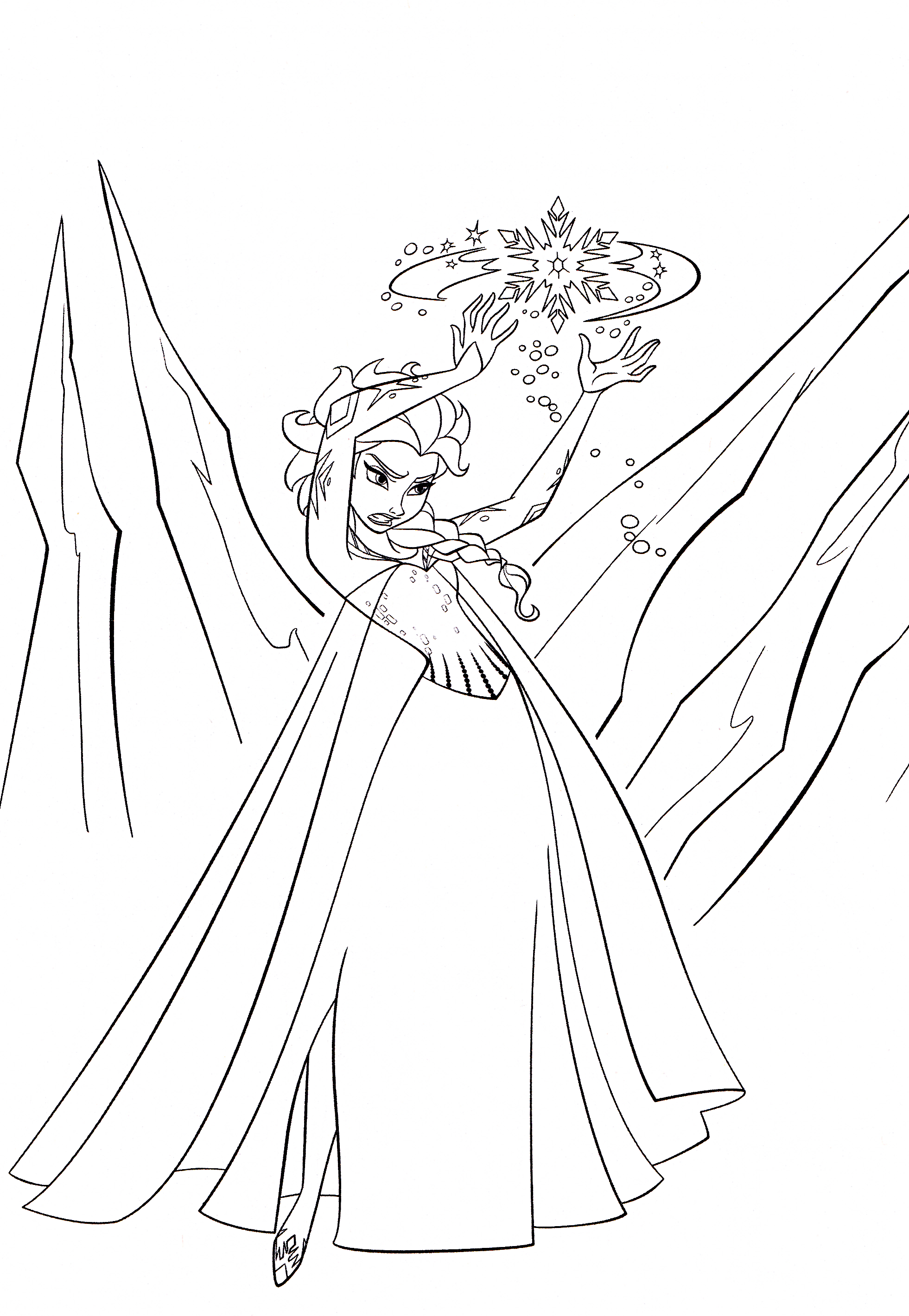 Queen Elsa Coloring Pages To Print Sketch Coloring Page