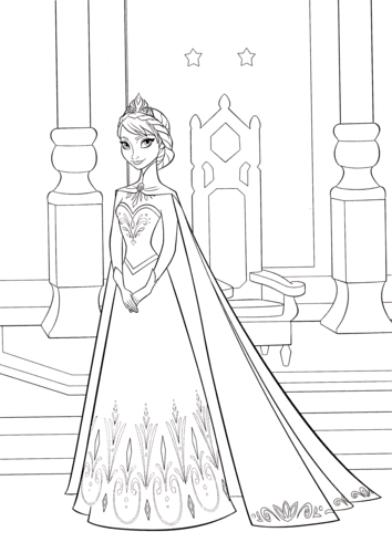 Beautiful Walt Disney Characters Wallpaper Entitled Walt Disney Coloring Pages   Queen  Elsa