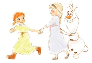 Young Anna, Elsa and Olaf