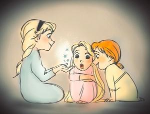 Young Anna, Elsa and Rapunzel