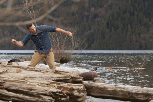 Luke Macfarlane Hintergrund with a lumbermill and a dugout kanu titled memory book