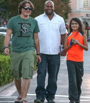 prince jackson, bodyguard and blanket jackson out in calabasas at the commons