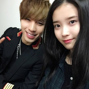 150316 ‪IU‬ and Kim ‪Sunggu‬ from ‪‎HIGH4‬'s Official Instagram