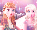 Anna and Elsa with new hairstyles