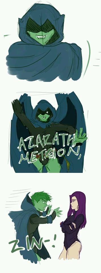 Beastboy in Raven's cape.