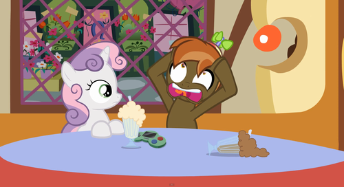 my little pony friendship is magic wallpaper probably containing anime titled Button Mash and Sweetie Belle