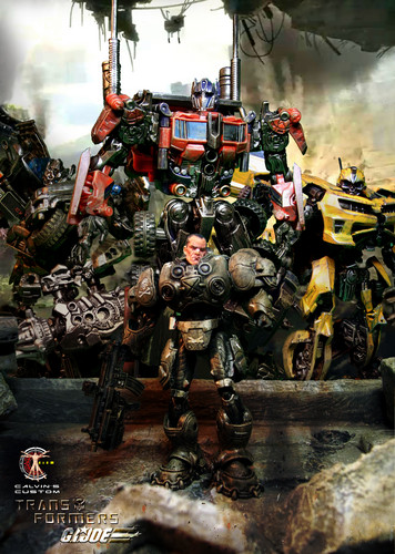Transformers karatasi la kupamba ukuta probably with an internal combustion engine and a mitaani, mtaa entitled Calvin's Custom 1:18 G.I.Joe X Transformers