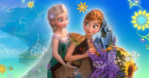 Frozen Fever wallpaper possibly containing a bouquet, a bridesmaid, and a portrait entitled Elsa and Anna