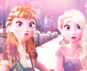 Elsa and Anna with new hairstyles