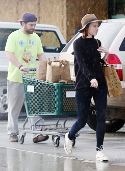 Emma Stone out and about in LA, together with her brother Spencer, on March 1st, 2015.