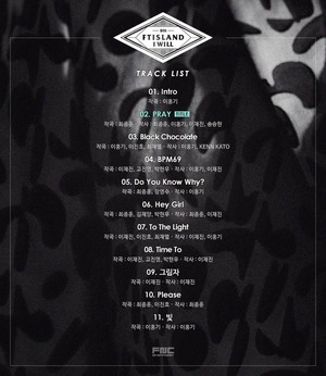 F.T Island say 'I Will' release the track Liste now for the Fans