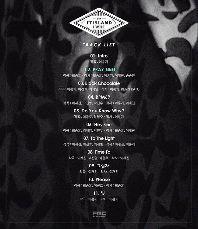 F.T Island say 'I Will' release the track listahan now for the fans