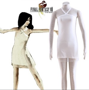 Final ファンタジー VIII Rinoa Heartilly White Party Dress Cosplay Costume