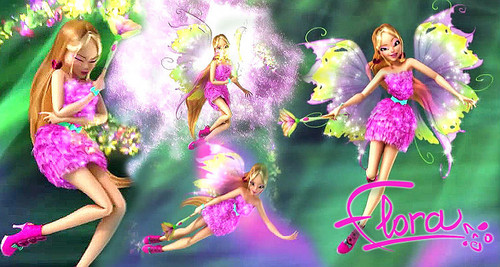 Winx Club karatasi la kupamba ukuta with a bouquet, a rose, and a begonia entitled Flora Mythix