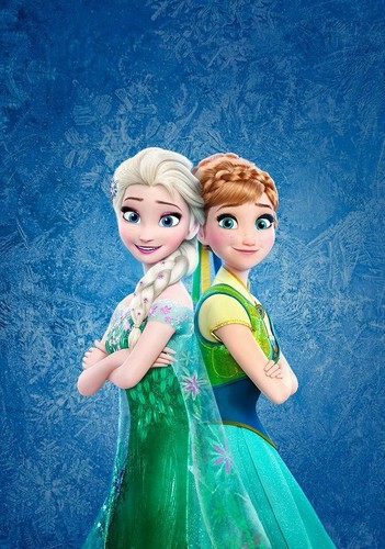 Disney Princess karatasi la kupamba ukuta entitled Frozen Fever - Elsa and Anna