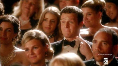 Jesse St. James wallpaper possibly with a business suit and a portrait entitled Glee S06E13 - Dreams Come True