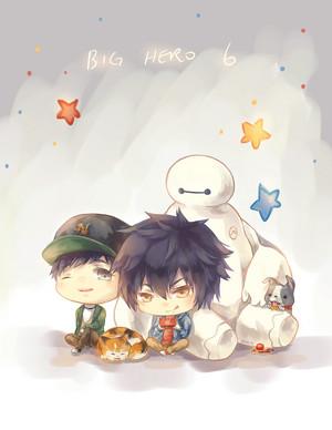 Hiro, Tadashi, Baymax and Mochi
