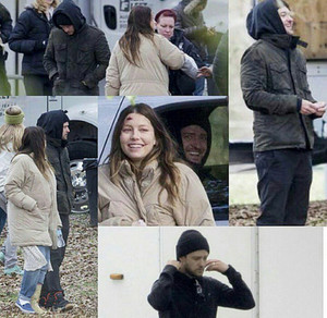 JT visiting pregnant wife Jessica on set (27 Feb 2015)
