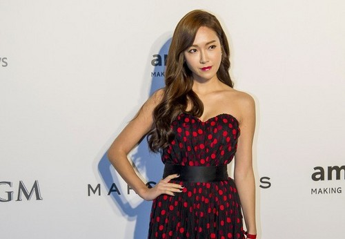 jessica snsd wallpaper with a makan malam dress called Jessica Jung at amfAR