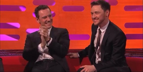 James McAvoy and Michael Fassbender वॉलपेपर with a business suit, a well dressed person, and a suit titled Michael/James