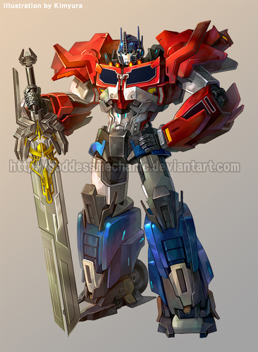 Transformers karatasi la kupamba ukuta probably with a golf bag titled Optimus Prime
