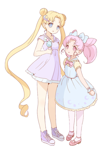 Sailor Mini moon (Rini) wallpaper titled Serena and chibi Rini