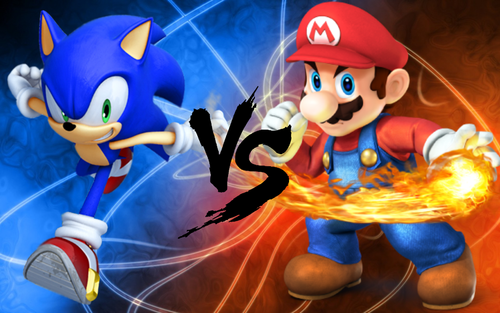 Sonic the Hedgehog wallpaper titled Sonic vs. Mario