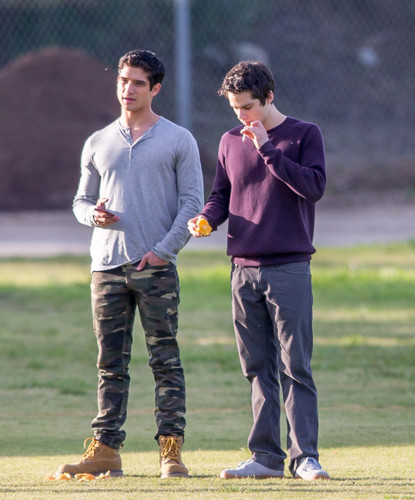 "Teen Wolf wallpaper containing a wicket and an umpire entitled Tyler Posey and Dylan O'brien on the set of ""Teen Wolf"""