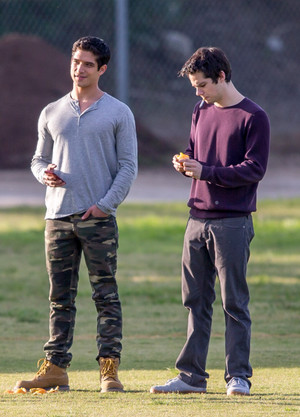 "Tyler Posey and Dylan O'brien on the set of ""Teen Wolf"""