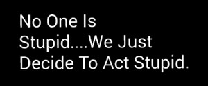 We're not stupid. We act Stupid.