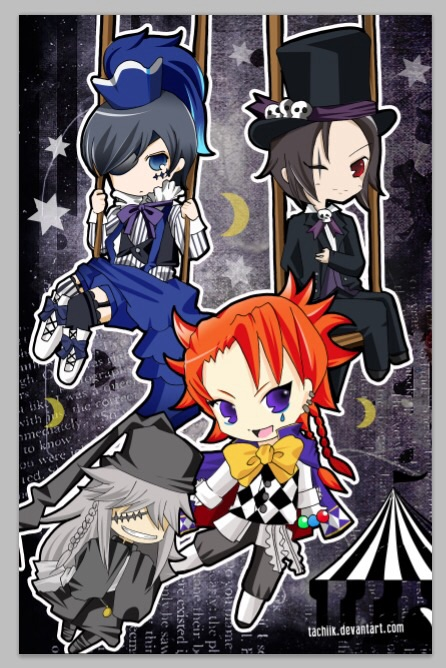 Kuroshitsuji Book Of Circus Images Chibi Smile Black Joker And Undertaker Wallpaper Background Photos