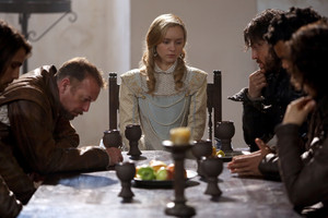 queen anne with treville and athos