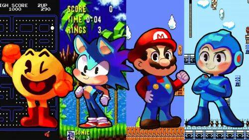 Video Games achtergrond with anime called sonic, Mario, mega-man, and pac-man