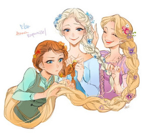 Anna, Elsa and Rapunzel