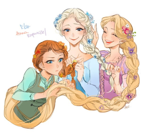 Elsa the Snow क्वीन वॉलपेपर containing ऐनीमे titled Anna, Elsa and Rapunzel