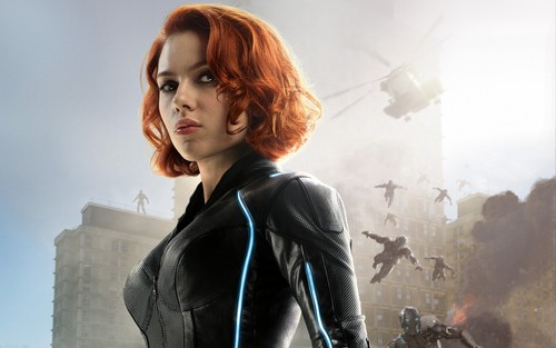 The Avengers Hintergrund with a well dressed person titled Black Widow