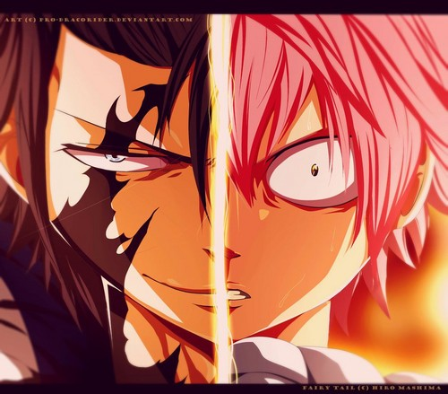 Fairy Tail karatasi la kupamba ukuta probably with a sign titled *Gray Devil Slayer vs Natsu Demon End Fated Death Match*