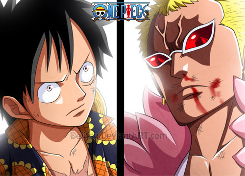 Monkey D. Luffy karatasi la kupamba ukuta possibly containing anime called *Luffy Vs Doflamingo*