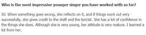 150408 Award winning lyricist, Kim Eana said ‎IU‬ is the most impressive young singer she has wo